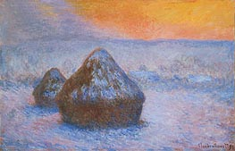Monet | Stacks of Wheat (Sunset, Snow Effect) | Giclée Canvas Print