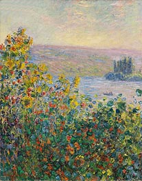 Monet | Flower Beds at Vetheuil | Giclée Canvas Print