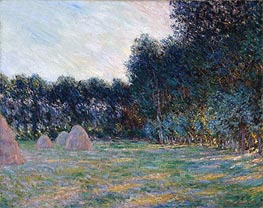 Monet | Meadow with Haystacks near Giverny, 1885 | Giclée Canvas Print