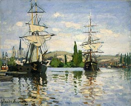 Monet | Ships Riding on the Seine at Rouen | Giclée Canvas Print