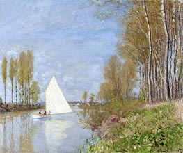 Monet | Sailboat on the Petit Bras of the Seine, Argenteuil, 1875 | Giclée Canvas Print