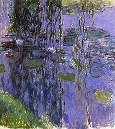 Monet | Willow Fronds and Water Lilies, c.1914/17 | Giclée Canvas Print