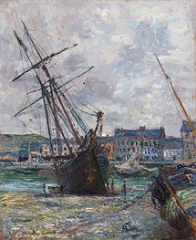 Monet | Boats Lying at Low Tide at Fecamp | Giclée Canvas Print