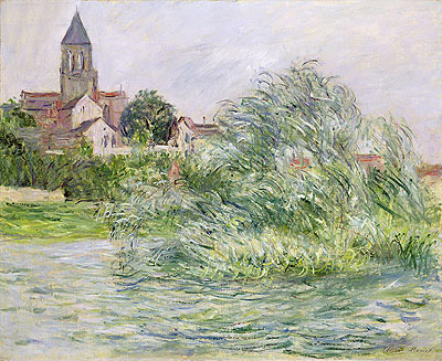 The Church and the Seine at Vetheuil, 1881 | Monet | Giclée Canvas Print
