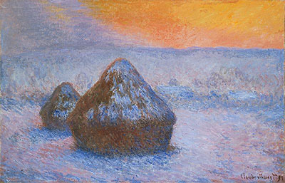 Stacks of Wheat (Sunset, Snow Effect), 1891 | Monet | Painting Reproduction