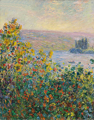 Flower Beds at Vetheuil, 1881 | Monet | Giclée Canvas Print