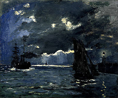 A Seascape, Shipping by Moonlight, c.1864 | Monet | Giclée Canvas Print