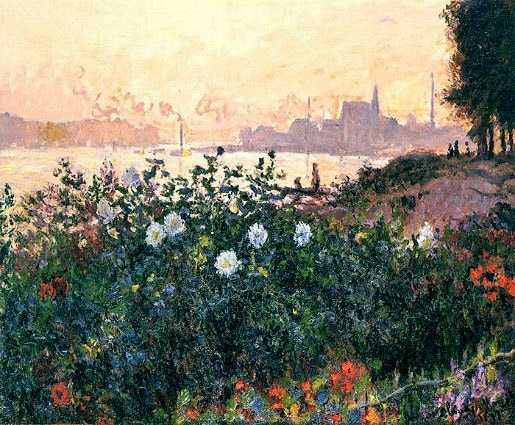 Argenteuil, the Bank in Flower, 1877   Monet   Painting Reproduction