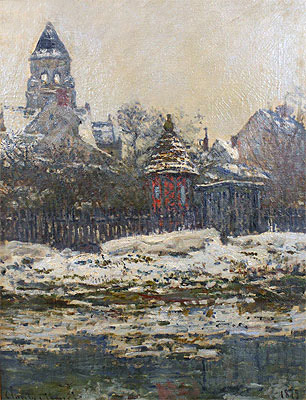 The Church at Vetheuil, Winter, 1879   Monet   Painting Reproduction