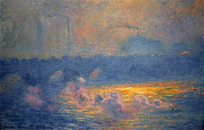 Monet | Waterloo Bridge, Sun Effect with Smoke, 1903 | Giclée Canvas Print
