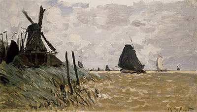 A Mill near Zaandam, 1871 | Monet | Giclée Canvas Print