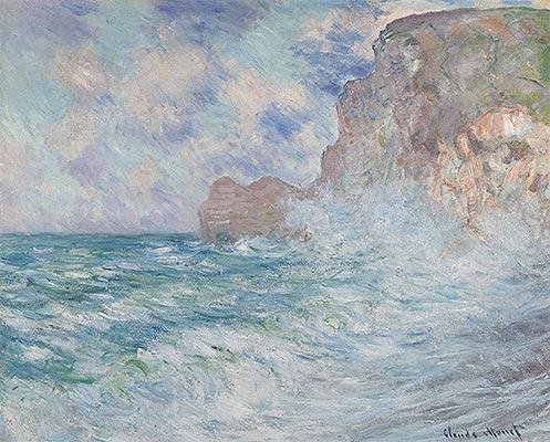 Etretat, Cliff and Upstream Gate, 1883 | Monet | Painting Reproduction