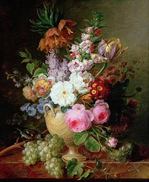 Cornelis van Spaendonck | Still Life with Flowers and Grapes, 1824 | Giclée Canvas Print