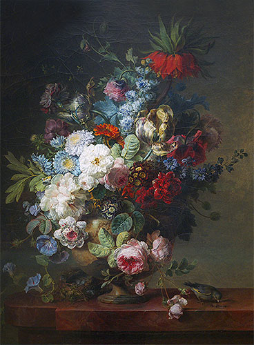 Vase of Flowers on a Stone Table with a Nest and a Greenfinch, 1789   Cornelis van Spaendonck   Giclée Canvas Print
