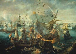 van Wieringen | The Explosion of the Spanish Flagship during the Battle of Gibraltar, 25 april 1607, c.1621 | Giclée Canvas Print