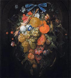 Cornelis de Heem | Festoon with Fruits and Flowers , Undated | Giclée Canvas Print