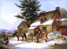 Cornelius Krieghoff   Bargaining for a Load of Wood   Giclée Canvas Print