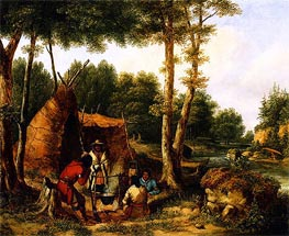 Cornelius Krieghoff | Indian Encampment by a River, c.1850 | Giclée Canvas Print