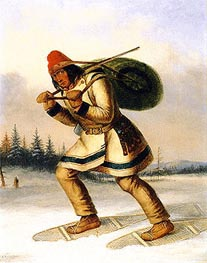 Cornelius Krieghoff | Indian Trapper on Snowshoes, c.1849 | Giclée Canvas Print