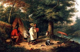 Cornelius Krieghoff | Caughnawaga Indian Encampment at a Portage, c.1844 | Giclée Canvas Print