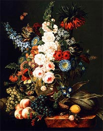 Cornelius Krieghoff | Still Life with Flowers, Fruit and Corn, 1846 | Giclée Canvas Print