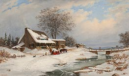 Cornelius Krieghoff | Visitors in Winter | Giclée Canvas Print