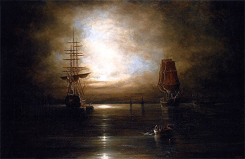 Marine View - Moonlight, c.1845 | Cornelius Krieghoff | Giclée Canvas Print