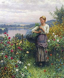 Daniel Ridgway Knight | The Rose Garden, Undated | Giclée Canvas Print