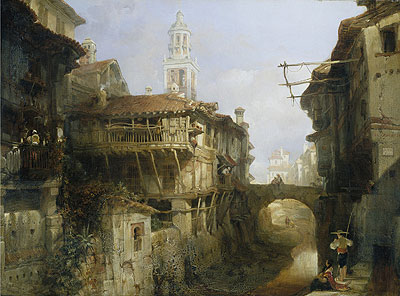 Old Buildings on the Darro, Granada, 1834 | David Roberts | Painting Reproduction