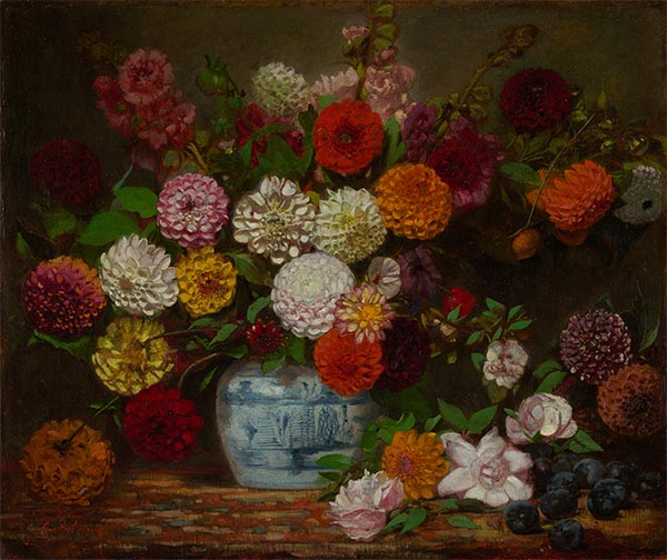 Still Life with Dahlias, Zinnias, Hollyhocks and Plums, c.1835 | Eugène Delacroix | Painting Reproduction