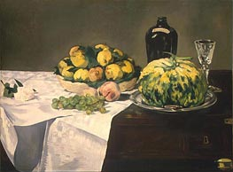 Manet | Still Life with Melon and Peaches | Giclée Canvas Print