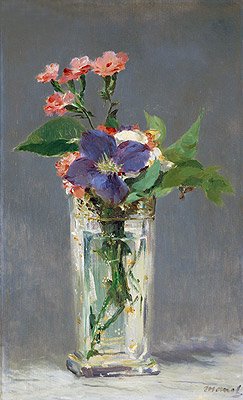 Pinks and Clematis in a Crystal Vase, c.1882 | Manet | Painting Reproduction