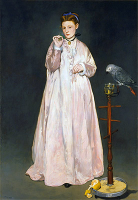 Young Lady with Parrot, 1866 | Manet | Painting Reproduction