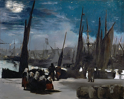 Moonlight over Boulogne Harbor, 1869 | Manet | Painting Reproduction
