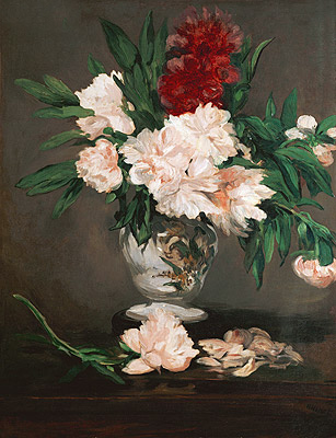Peonies in a Vase on a Stand, 1864   Manet   Giclée Canvas Print
