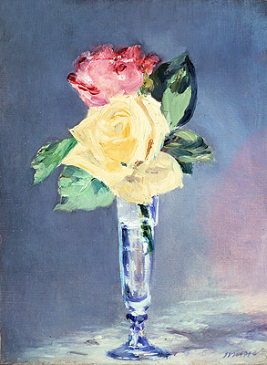 Roses in a Champagne Glass, c.1882 | Manet | Painting Reproduction