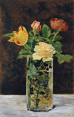 Roses and Tulips in a Vase, 1883 | Manet | Giclée Canvas Print