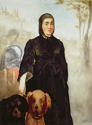 Woman With Dogs, 1858 | Manet | Giclée Canvas Print