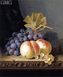 Edward Ladell | Still Life with Peaches, Grapes and Whitecurrants | Giclée Canvas Print