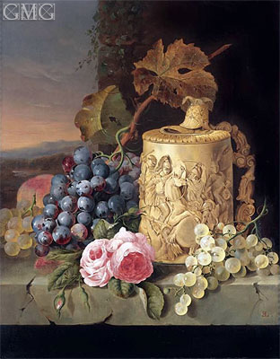 Still Life with Grapes, Roses wnd w Stein on a Marble Ledge, undated | Edward Ladell | Giclée Canvas Print