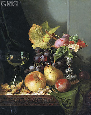 Plums, Raspberries and White Currants in a Tazza, undated | Edward Ladell | Giclée Canvas Print