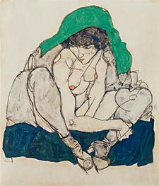 Schiele | Crouching Woman with Green Headscarf | Giclée Canvas Print