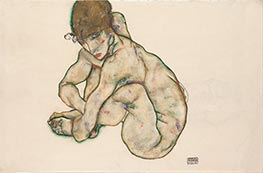 Schiele | Crouching Nude Girl | Giclée Canvas Print