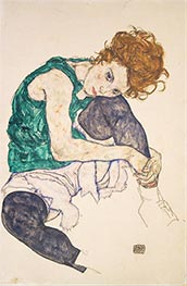 Schiele | Seated Woman with Bent Knees, 1917 | Giclée Paper Print