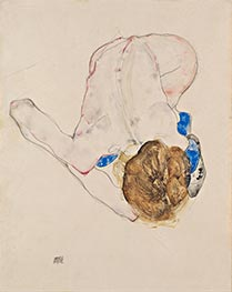Schiele | Nude with Blue Stockings, Bending Forward | Giclée Paper Print