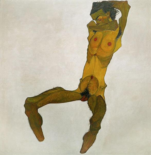 Seated Male Nude (Self-Portrait), 1910 | Schiele | Giclée Canvas Print