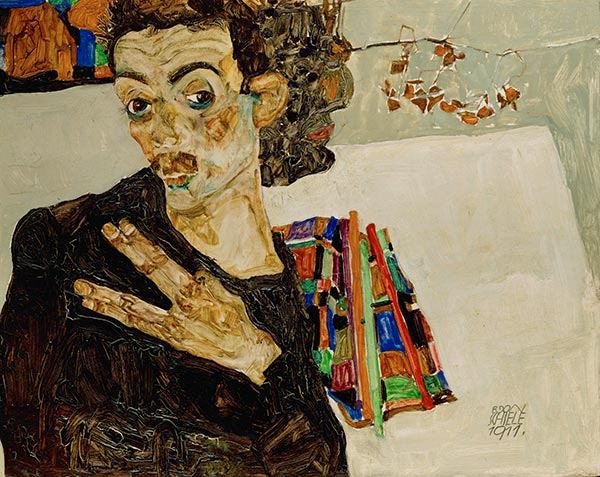 Self-Portrait with Spread Fingers, 1911 | Schiele | Painting Reproduction