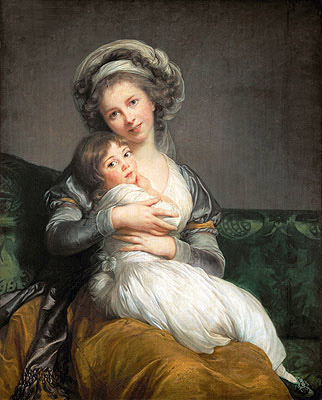 Self Portrait in a Turban and her Daughter Julie, 1786 | Elisabeth-Louise Vigee Le Brun | Giclée Canvas Print