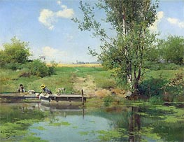 Emilio Sanchez-Perrier | Laundry at the Edge of the River, 1882 | Giclée Canvas Print