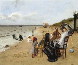 Ernest-Ange Duez | Mother and Daughter on the Beach, 1885 | Giclée Canvas Print
